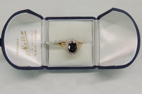 anello con zaffiro e brillanti, anello in oro giallo, anello di fidanzamento