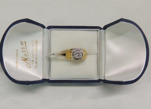 anello in oro giallo e brillante, anello in oro giallo, anello di fidanzamento