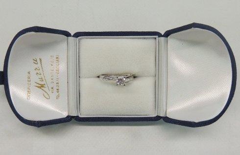 anello in oro bianco e brillante, anello in oro bianco, anello di fidanzamento