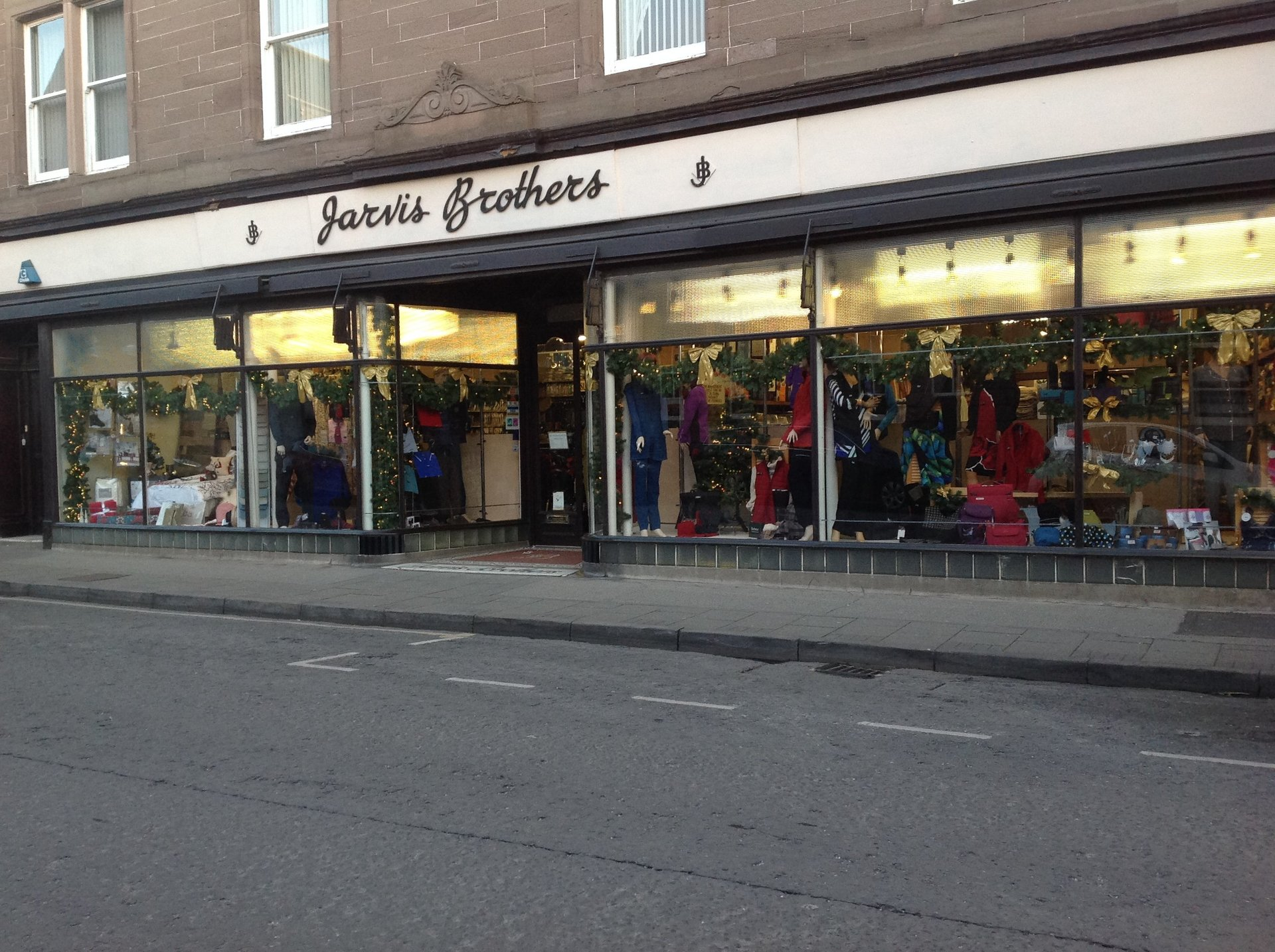 Jarvis brothers store front in Forfar.