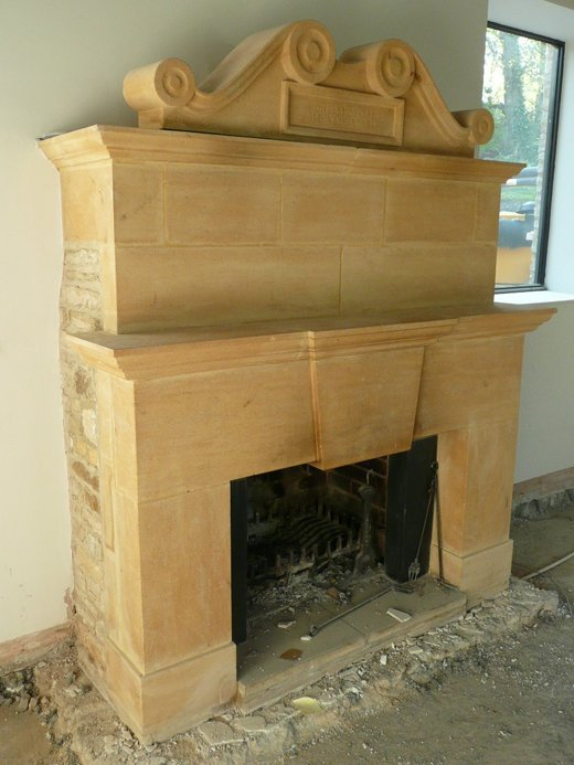 Reclaimed limestone fireplace
