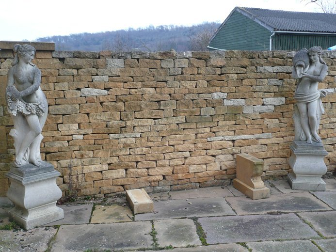 Coursed stone walling