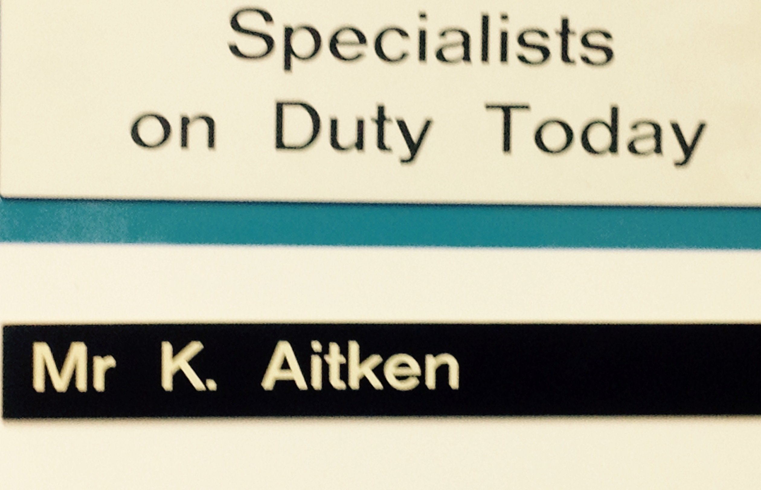Image of door sign at Mr K. Aitkens office in Palmerston North