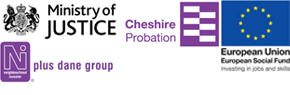 Logos for Ministry of justice, European Union, Dane Housing and Cheshire Probation