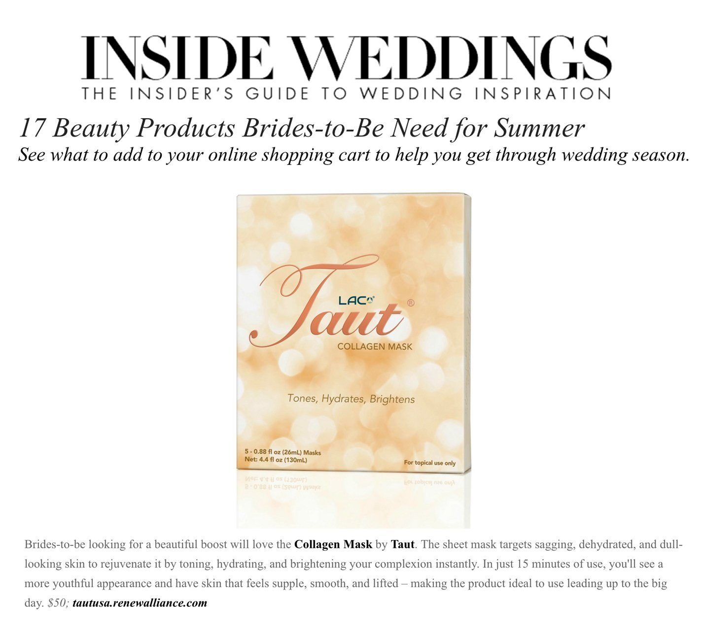 Collagen mask for brides and bridal skincare