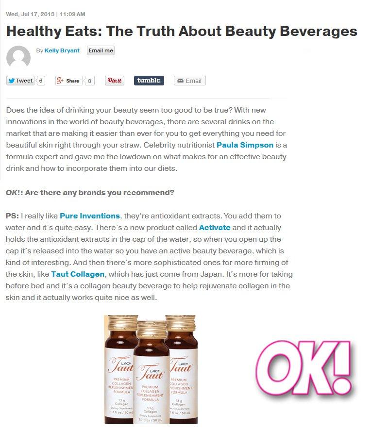 TAUT PREMIUM COLLAGEN DRINK FEATURED IN OK MAGAZINE | RenewAlliance