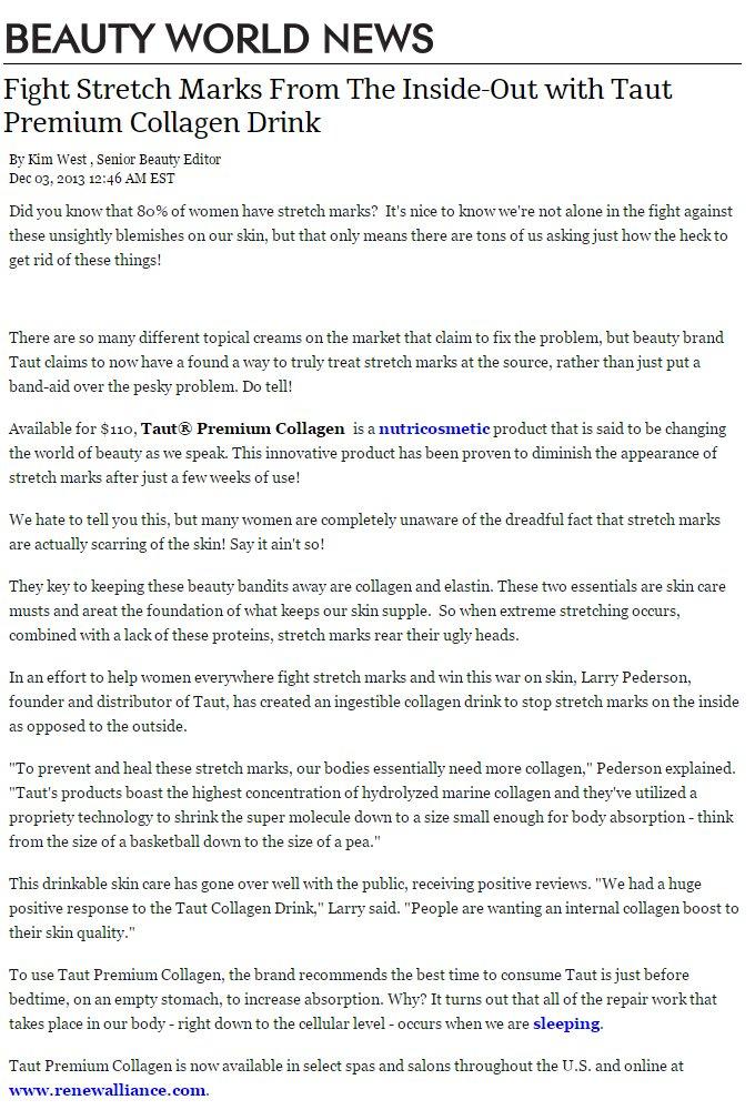 TAUT PREMIUM COLLAGEN DRINK FEATURED IN BEAUTYWORLDNEWS.COM | RenewAlliance