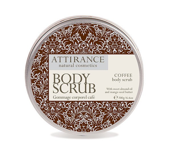 Attirance Coffee Body Scrub is a natural and potent mix of ground coffee, almond oil, mango butter, and jojoba oil, great for reducing cellulite.