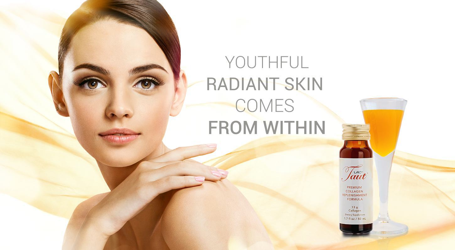 Youthful radiant skin comes from within. Taut Premium Collagen 13,000mg