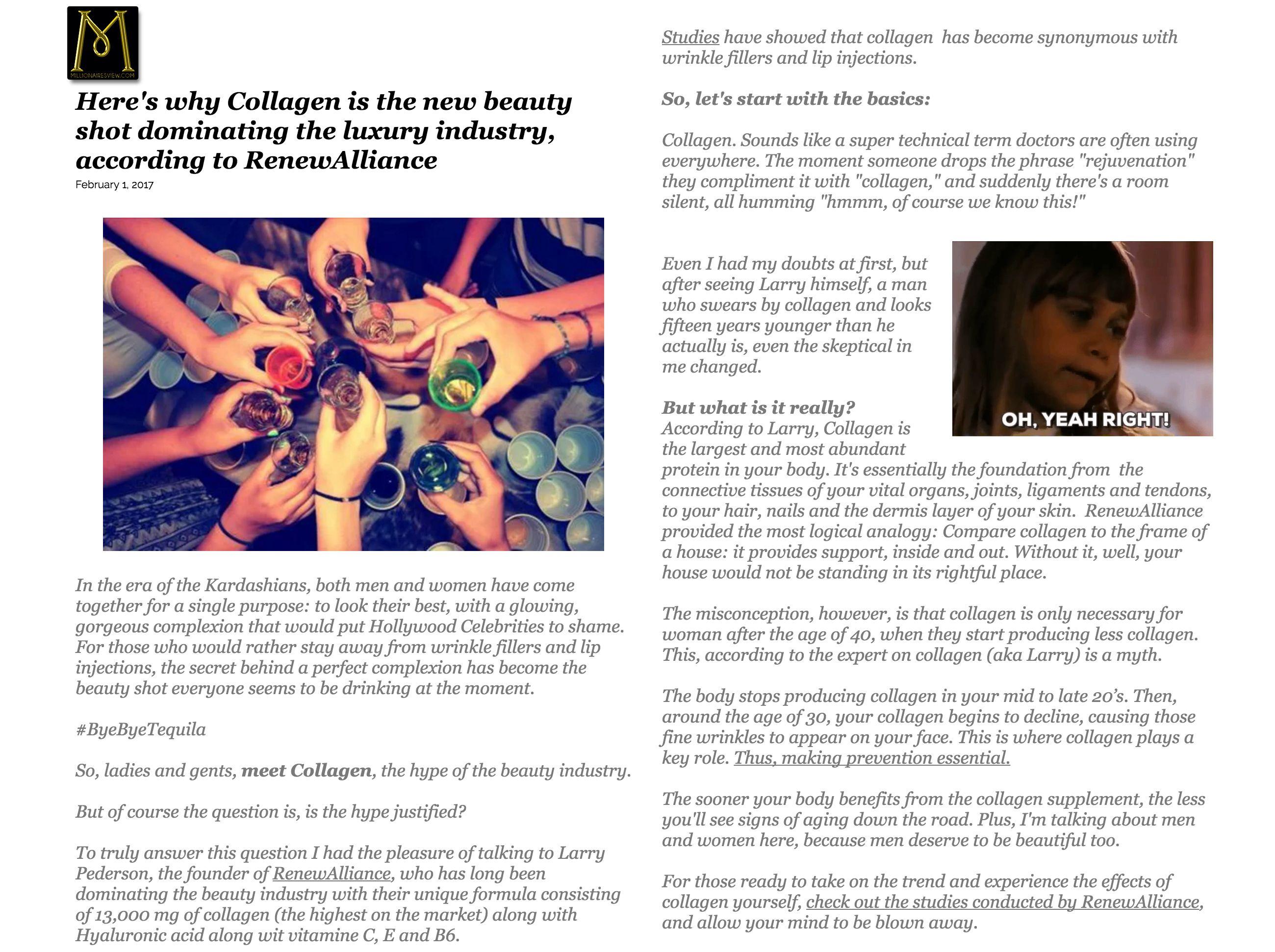 TAUT PREMIUM COLLAGEN DRINK FEATURED ON MILLIONAIRESVIEW.COM | RenewAlliance