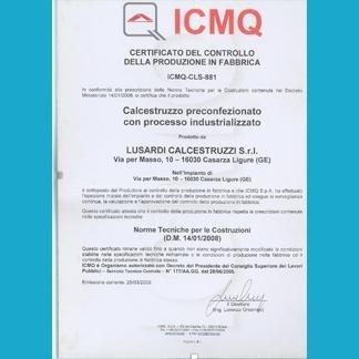 certificazione di qualità LUSARDI CALCESTRUZZI