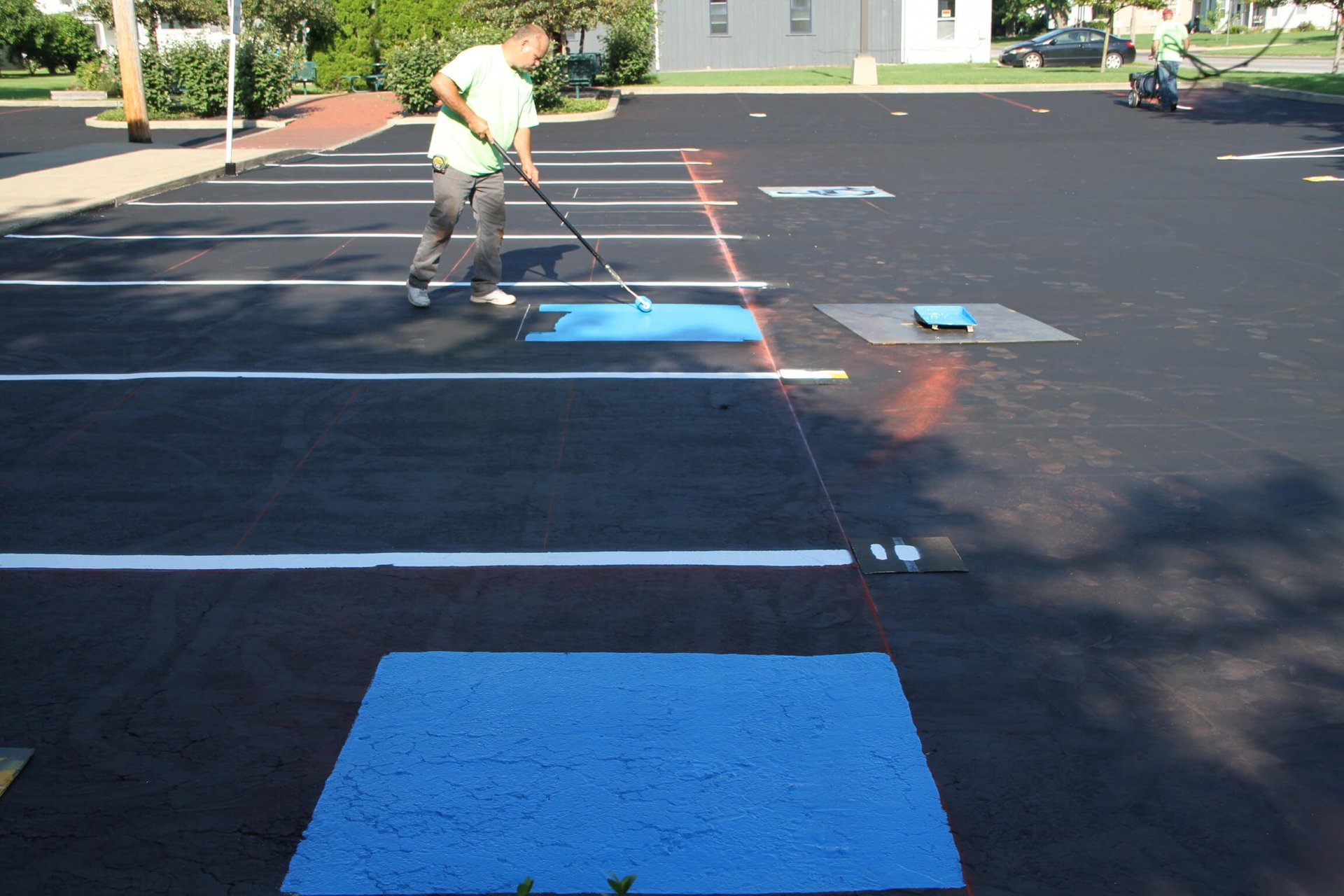 Dublin CPS, Inc. tech performing parking lot striping services