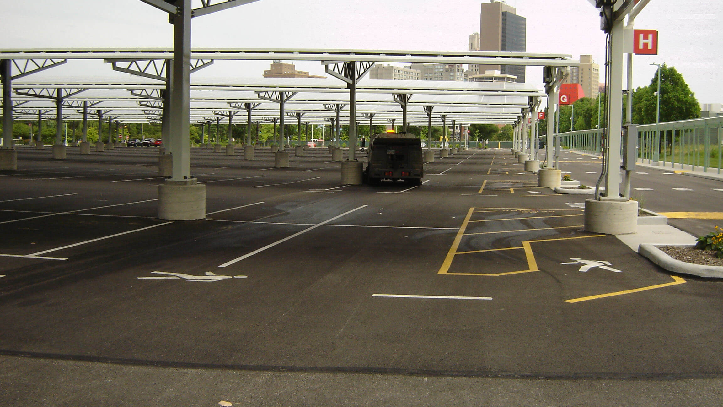 Dublin CPS, Inc. power sweeping a commercial parking lot in ohio