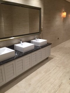 Bathroom with large stone tiles