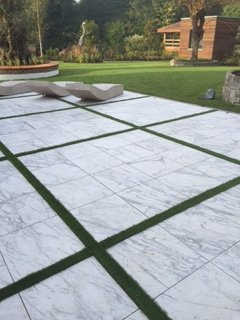 Flagstones outside in garden