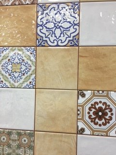 Mixture of plain and patterned tiles