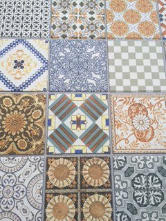 Patterned tiles in bright colours