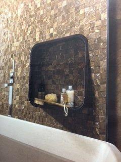Brown bathroom tiles