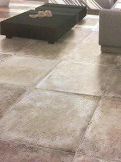 Large square stone floor tiles