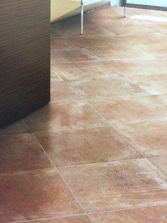 Weathered terracotta floor tiles