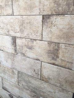 Grey rectangular wall tiles