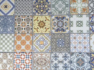 Brightly-coloured patterned tiles