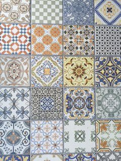 Selection of patterned tiles
