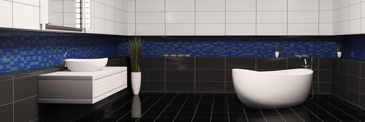 A bathroom with sleek bath