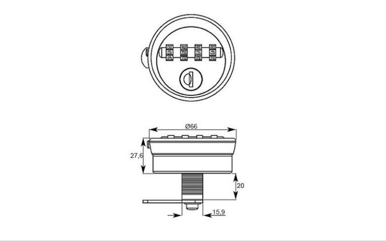 disegno serratura con paletto di chiusura