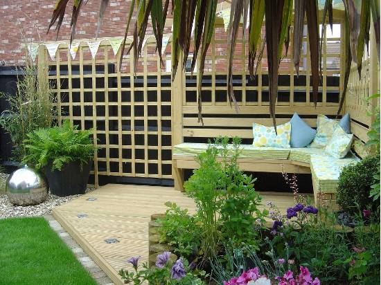 wooden seating area