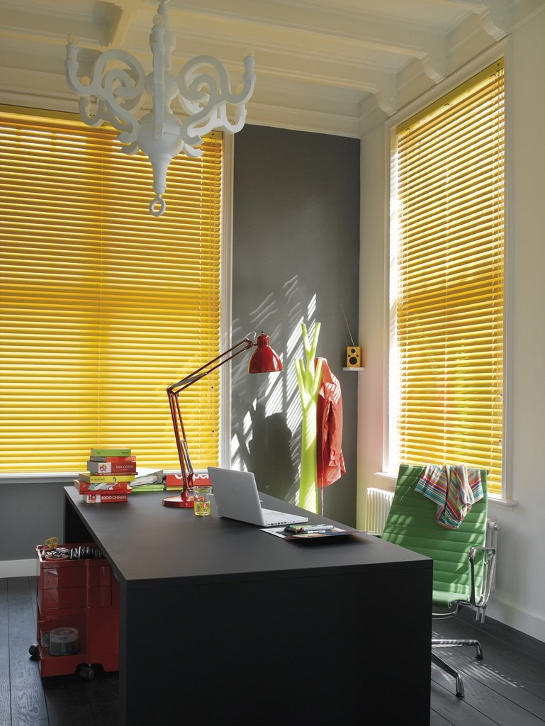 yellow coloured curtains