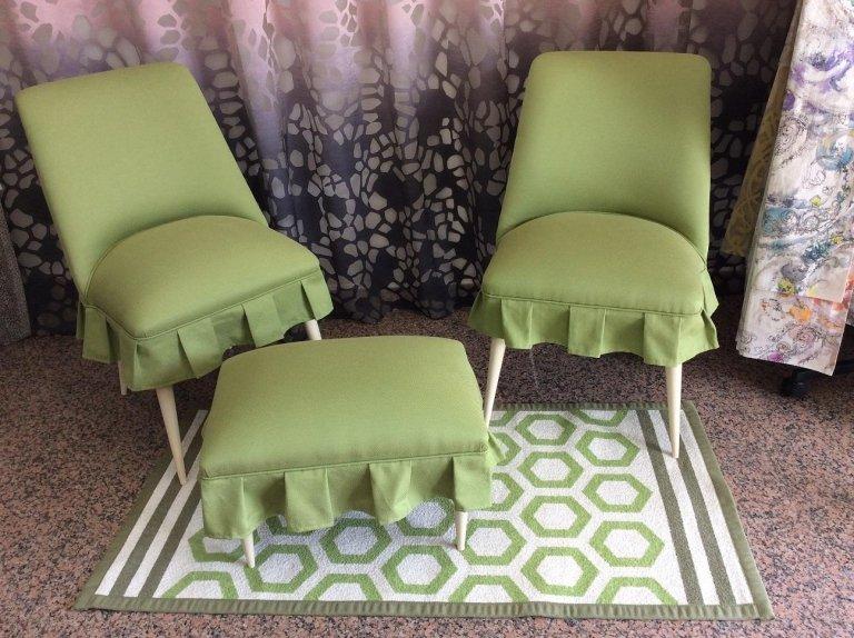 tessuto verde per sedie e appoggiapiedi