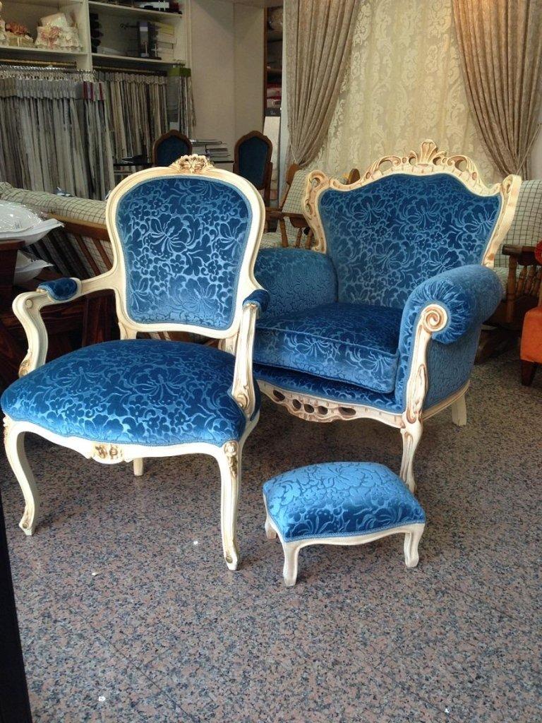 poltrone vittoriane blu
