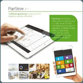 una brochure con scritto plan store e delle immagini di alcuni tablet