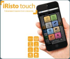 un iPhone con un'applicazione aperta e la scritta risto touch