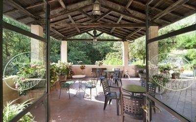 hotel with outdoor veranda