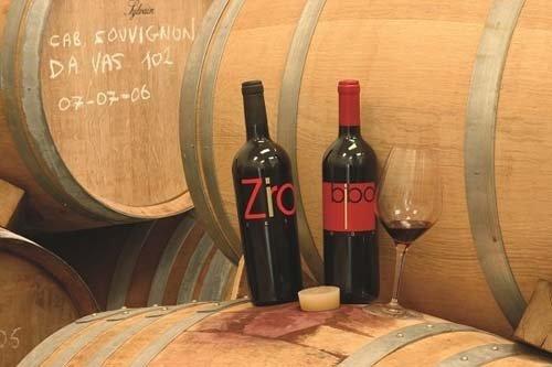 bottiglie di vino vicino a delle botti