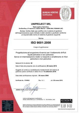 certificato ISO 9011:2008 - agg. 2016