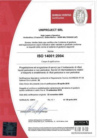 certificat ISO 14001:2004 - agg. 2016
