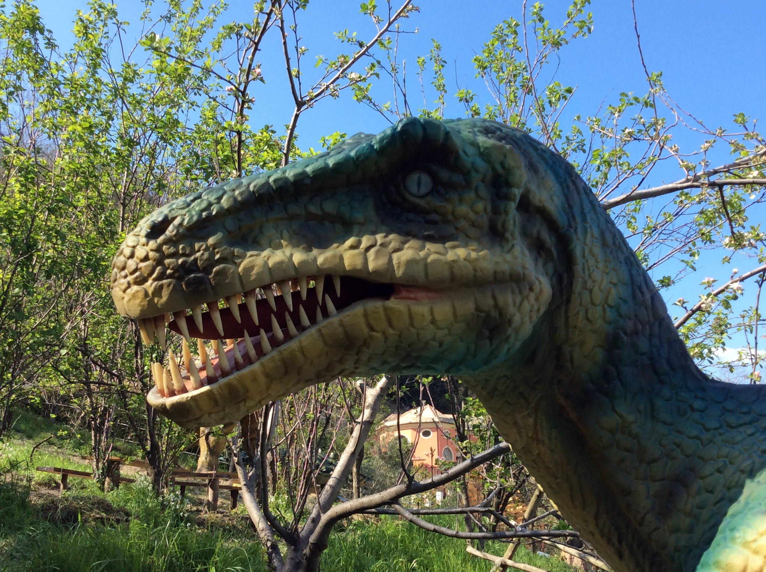 Primo piano di un modello di Velociraptor