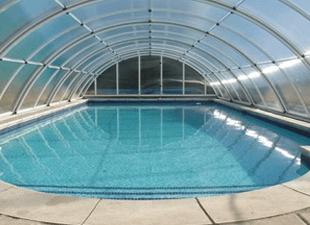 Inside view of an Arcus Original pool enclosure