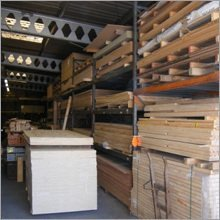 Shelves and stacks of timber in our warehouse