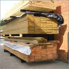 Pallets of timber in the yard