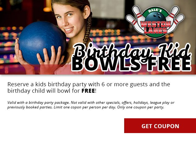 Birthday Kids Bowl Free at Dale's Weston Lanes Bowling Alley - Weston, WI