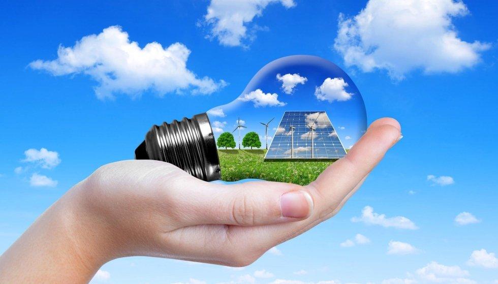illustrazione di una lampadina con pannello fotovoltaico e pale eoliche