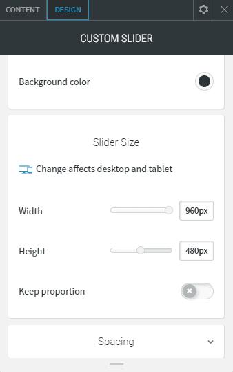 Custom slider design slider size