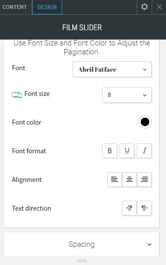 Film slider design pagination