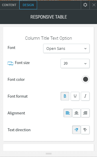 Google sheet table design column option