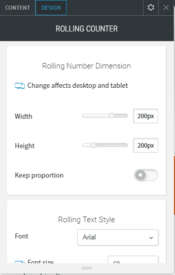rolling counter design dimension