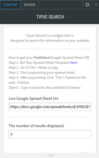 Tipue search content google spread sheet url